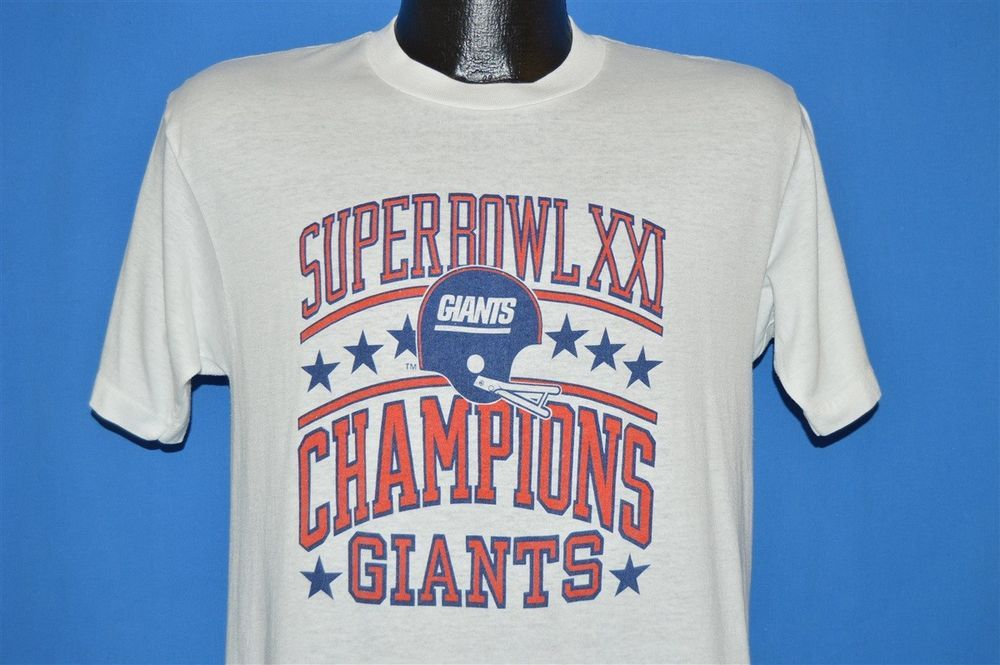 vintage 80s NEW YORK GIANTS SUPER BOWL XXI CHAMPS WHITE t-shirt FOOTBALL  MED M  TeeJays  NewYorkGiants a2207bc75