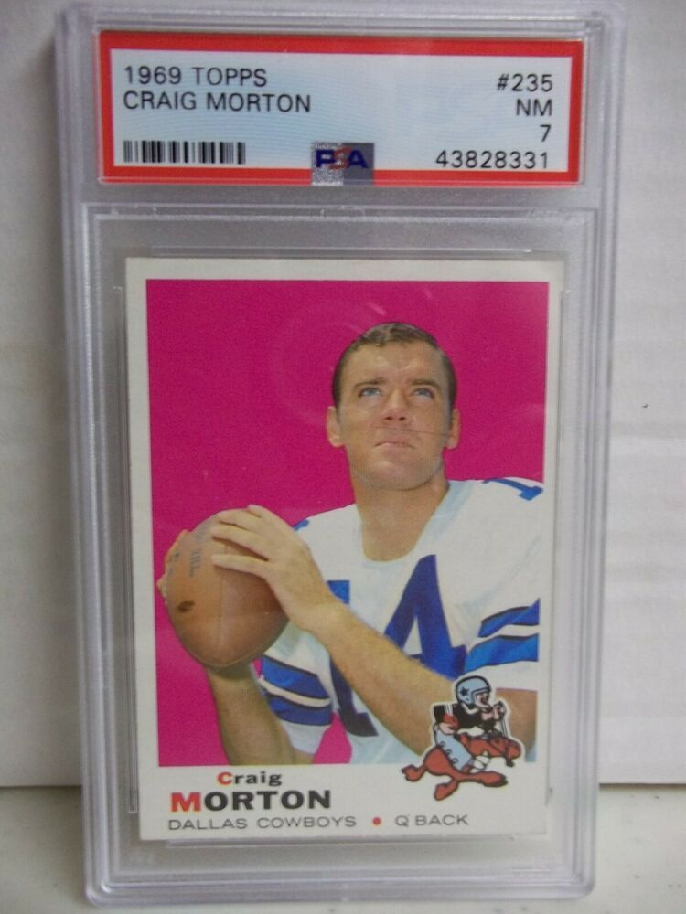 1969 topps craig morton psa nm 7 football card 235 nfl