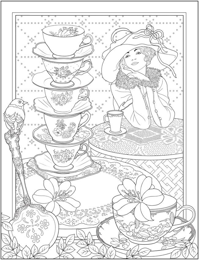 Creative Haven Tea Time Coloring Book | Dover Publications ...