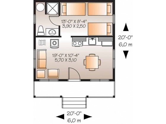 400 sq ft floor plan cabin ideas pinterest tiny for Small duplex house plans 400 sq ft