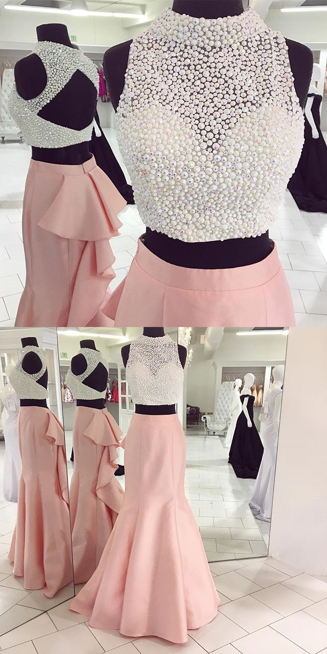 Two piece long prom dress pink mermaid long prom dress with