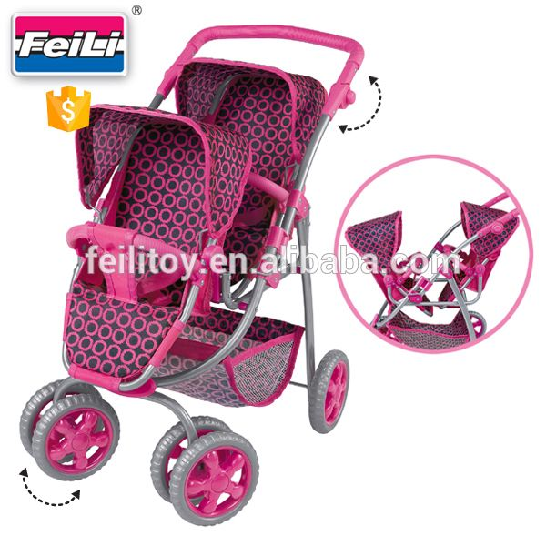 Fei Li Baby Doll Twin Strollers With Rotating Wheels Doll