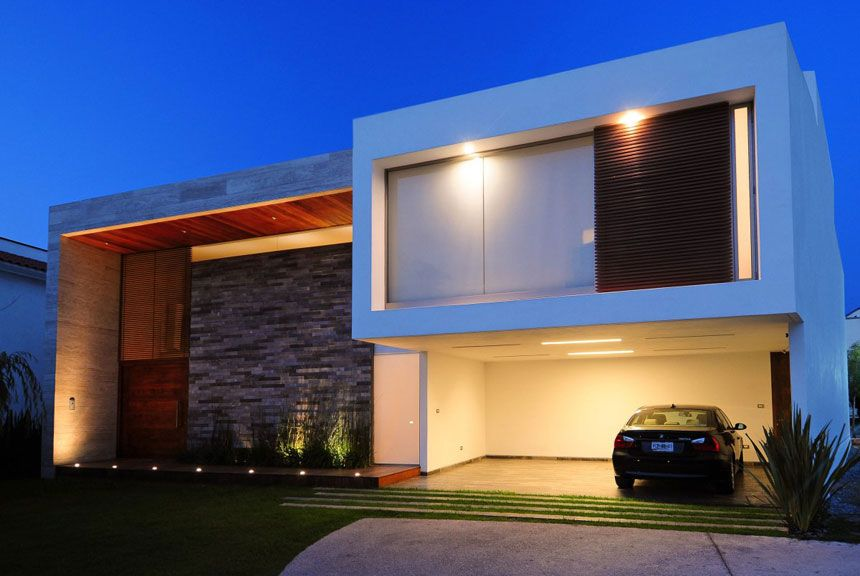 contemporary houses Front View Modern House with Tiles Wall Decor - Facade Maison Style Moderne