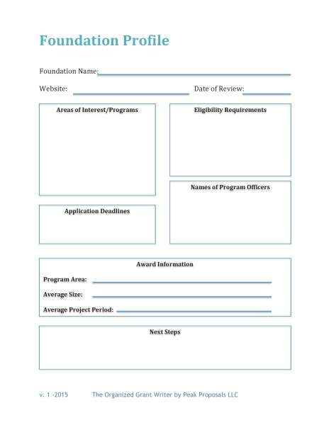 Foundation Profile  Free Download Use This Template To Capture A