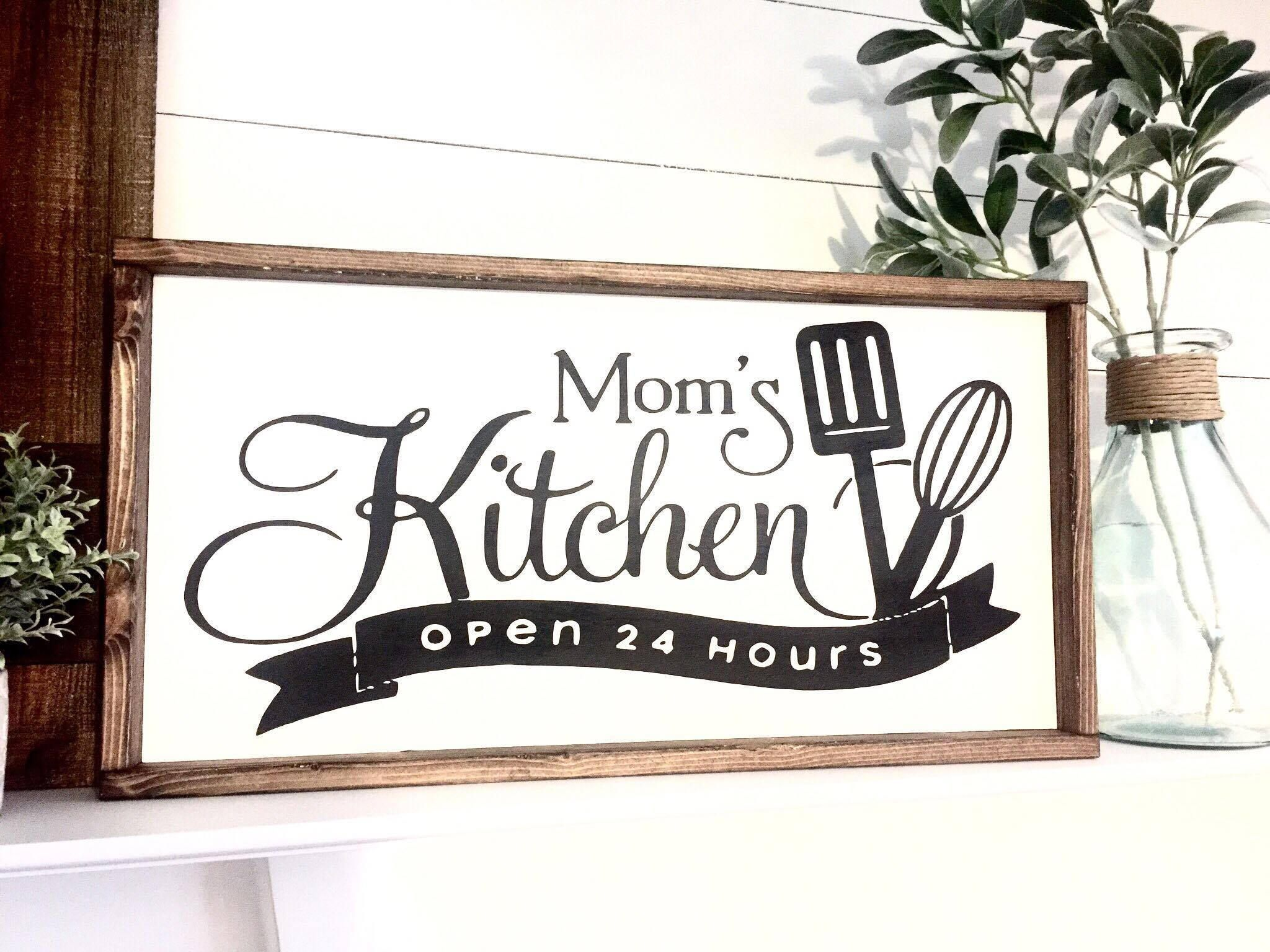 Mom S Kitchen Wood Sign By Simplydesignbyapril On Etsy Kitchen