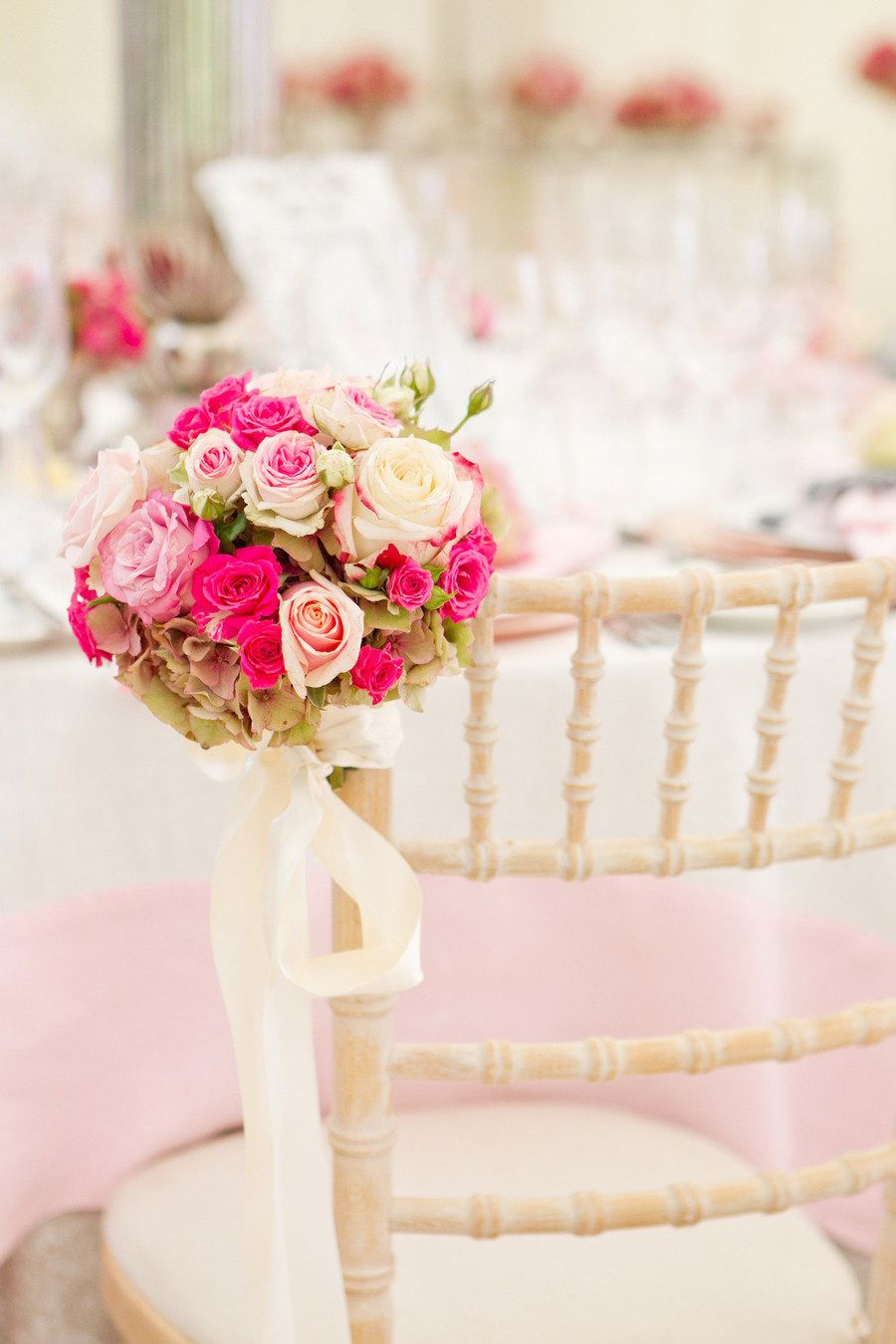 Pink and maroon wedding decor  Cotswold England Wedding from Catherine Mead Photography  Pink bouquet
