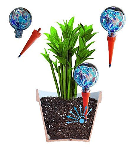 2 Large Plantpal Decorative Glass Watering Globes Plant Watering Stakes Automatic Plant Watering Vacation Water Watering Globe Indoor Plant Pots Glass Decor
