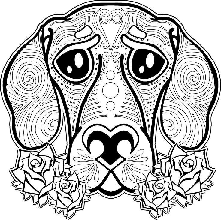 dog sugar skull coloring pages | dog coloring page, dog coloring pages, free coloring page ...