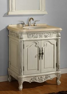 Image result for small vintage vanity unit marble top 30