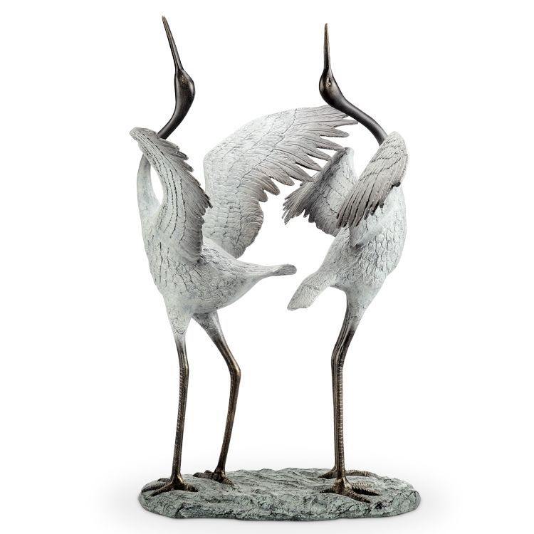 White Crane Garden Pair Good Fortune Feng Shui Sculpture Bird Metal Pool Art Haus Bauen