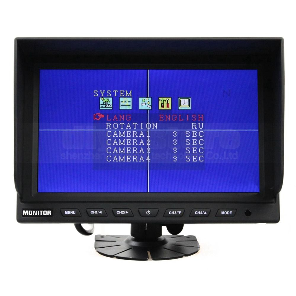 9 Inch 4 Split Quad Lcd Screen Display Color Rear View Monitor Car Security Video