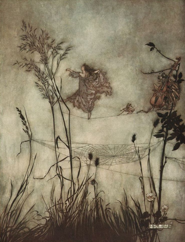"Arthur Rackham:     Peter Pan in Kensington Gardens    ""The fairies are exquisite dancers."" I wonder if I still have this poster somewhere?"