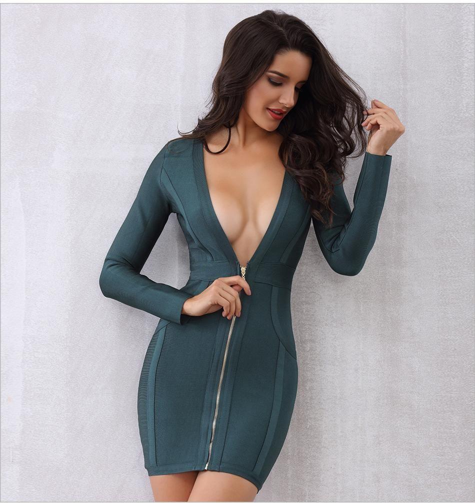 Dark green bandage deep v neck long sleeve patchwork mini dress