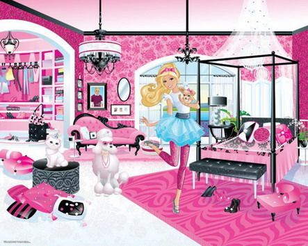 Best Beautiful Pink Barbie Princess Wallpaper For Teenage Girls Bedroom Wall Stickers Harper 400 x 300
