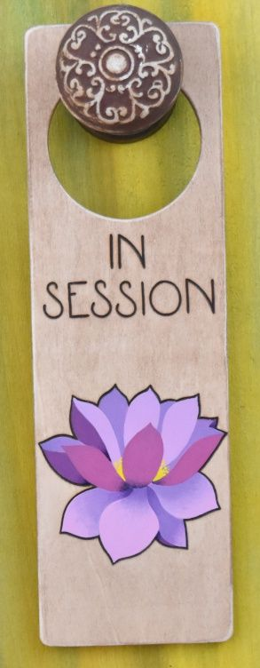 httpswwwetsycomshopdesignsbyheidilynne wood burned door hanger sign with lotus flower in session door sign for therapy or spa
