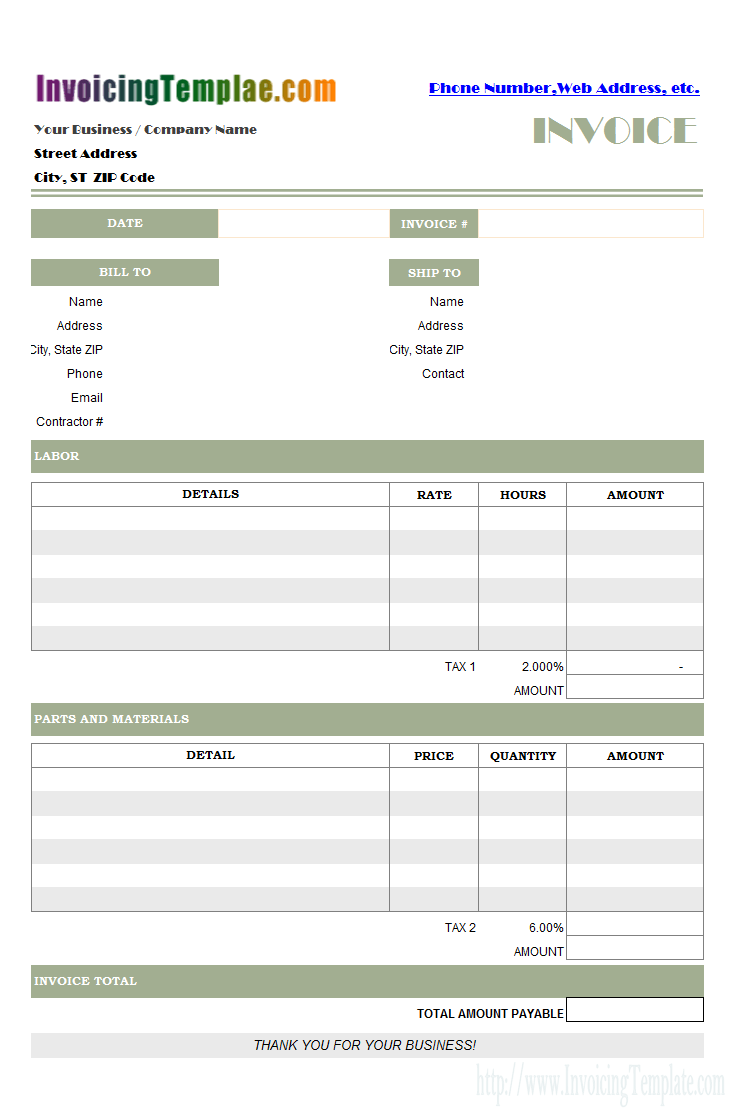 Parts And Labor Billing Format For Excel Art For My Walls
