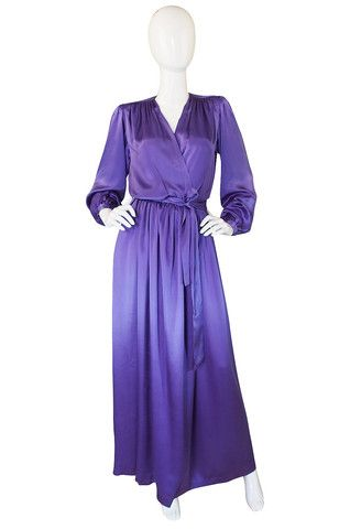 c.1988 Liquid Silk Yves Saint Laurent Wrap Gown