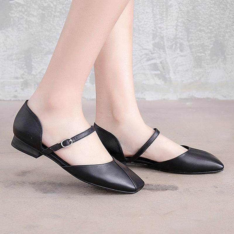 4ec85b63d94 Flat heel square toes sandals women summer black leather shoes jpg 800x800 Black  square toes sandals