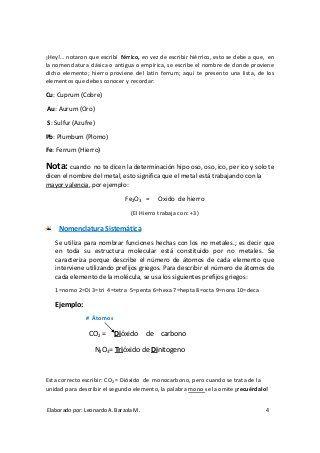 Folleto de Nomenclatura Química Nivel 0 Chemistry Pinterest - fresh clasificacion de la tabla periodica de los elementos pdf