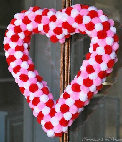 Easy Pom Pom Heart Wreath | Wreath crafts, Heart wreath and Wreaths