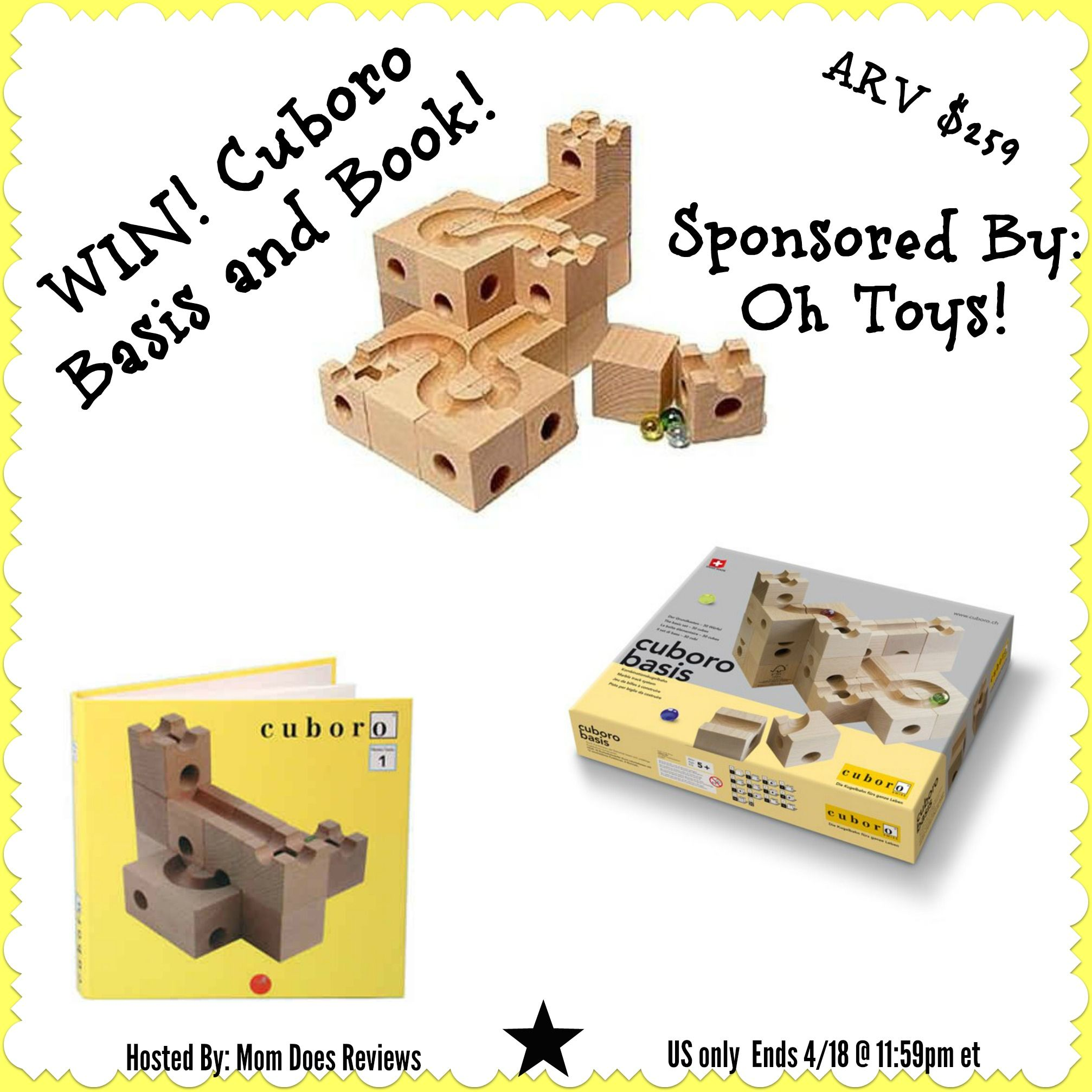 WIN! Cuboro Basis Block Set and Cuboro Instruction Book! Sponsored by: Oh Toys! Hosted by: Mom Does Reviews What is Cuboro and where does it come from? Well, Cuboro is a wooden block company that incorporates wooden blocks with marble mazes in order to...