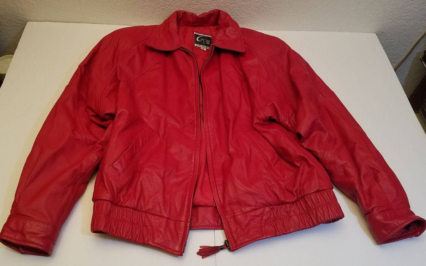 Retro Vintage Global Identity G-III Red Leather Coat Bomber Jacket Ladies  size M Cool