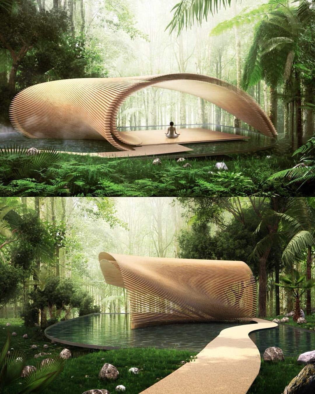 "Architecture & Design on Instagram: ""Tsubomi Villas by Kengo Kuma and Associates. (2018) 😍💚 📍#Bali #Indonesia #architectanddesign"""