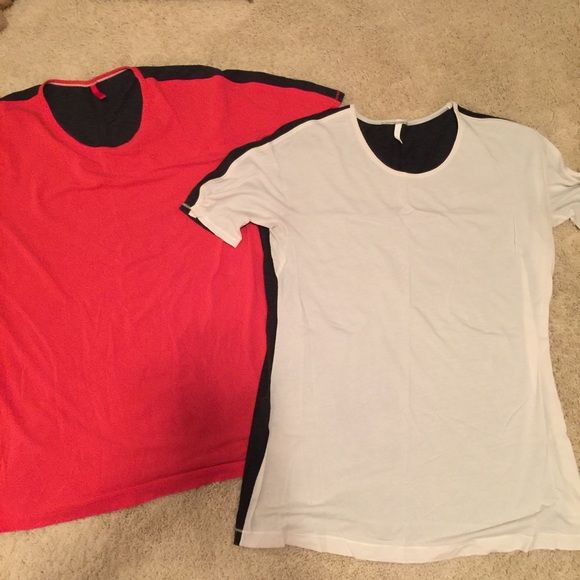 Lululemon SS Devotion Tee Lot of 2 lululemon tees. One is red front, charcoal back (size 10) and the other is cream front charcoal back (size 12). However, both fit (I would say as 10). Will sell separately if interested. Super soft and comfy, looser fit. lululemon athletica Tops Tees - Short Sleeve