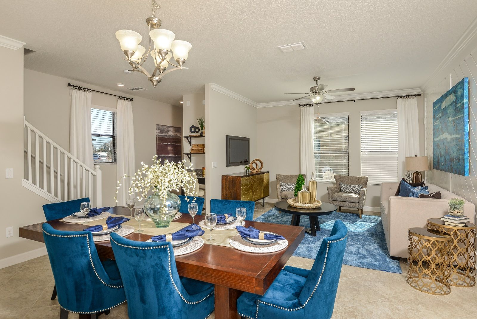 The light filled family room of the willow by lennar offers the perfect