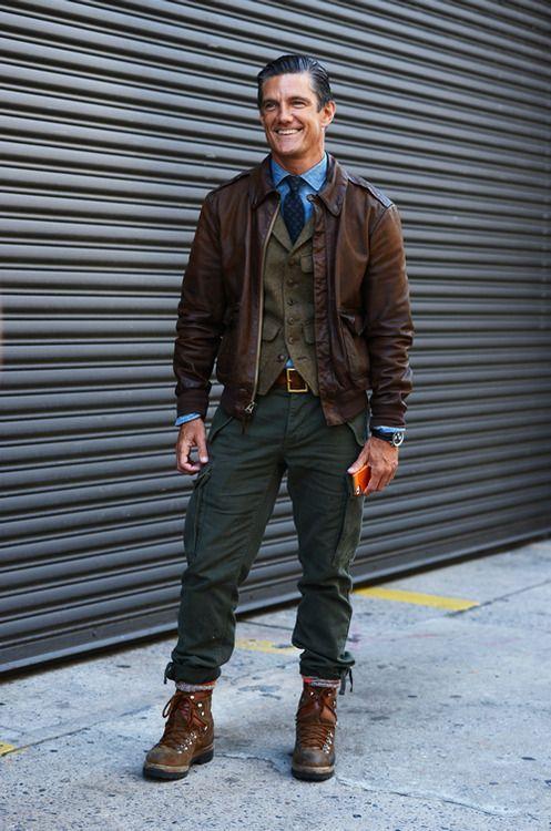 Men's Dark Brown Leather Barn Jacket, Olive Waistcoat, Blue Long ...