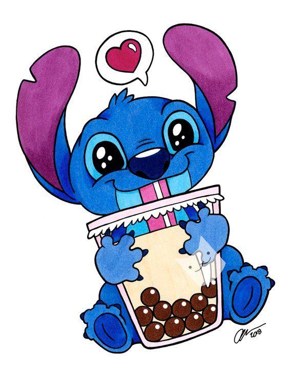 Boba Stitch - Illustration Art Print - 8x10 - disney fan art  lilo and stitch boba cute