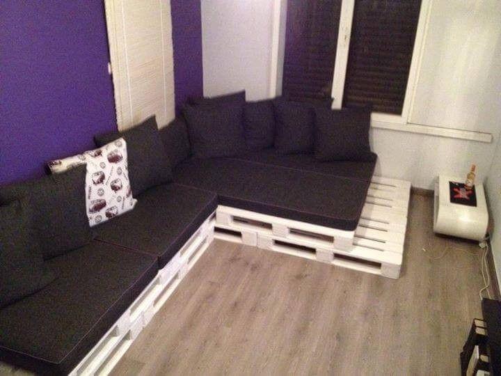 Paletten-Wohnzimmer L-Sofa mit Tisch   Sofa aus paletten ...