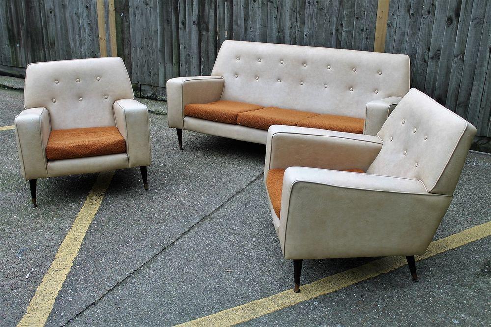 Vintage Three 3 Piece Suite Sofa Chairs Leatherette Retro