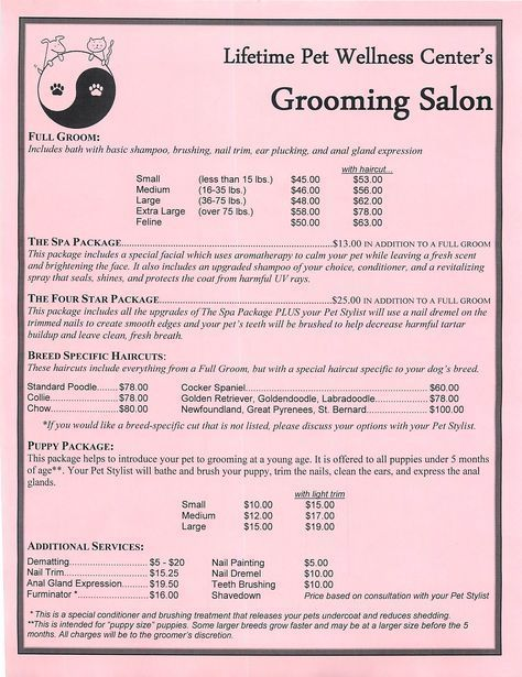 Grooming Services Price Sheet #daycareprices Child Daycare