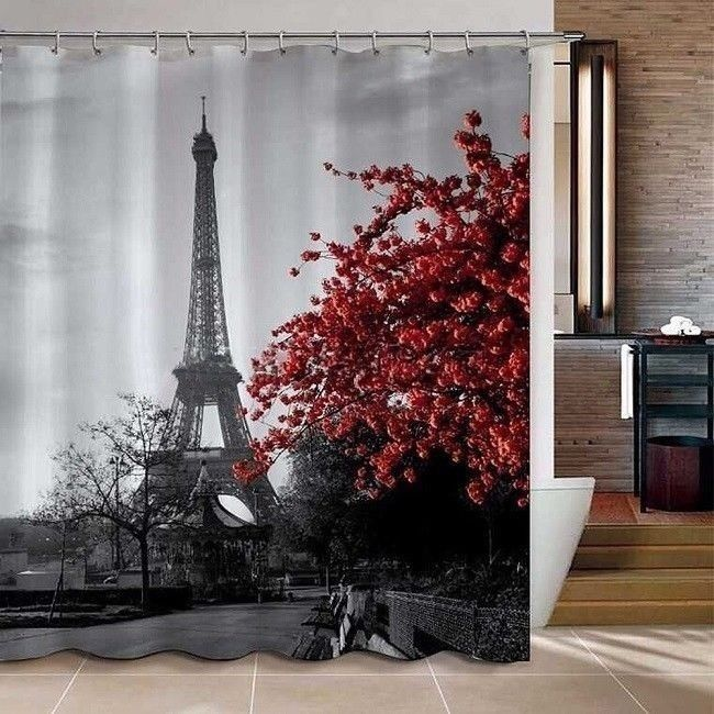 Paris Bathroom Decor Clawfoot Bathtub Shower Curtain ...
