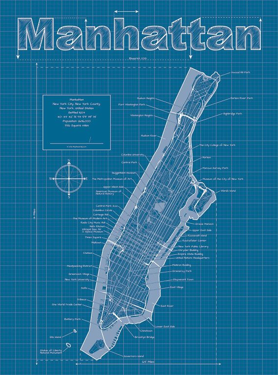 Manhattan map original artwork new york blueprint wall art manhattan map original artwork new york blueprint wall malvernweather Choice Image