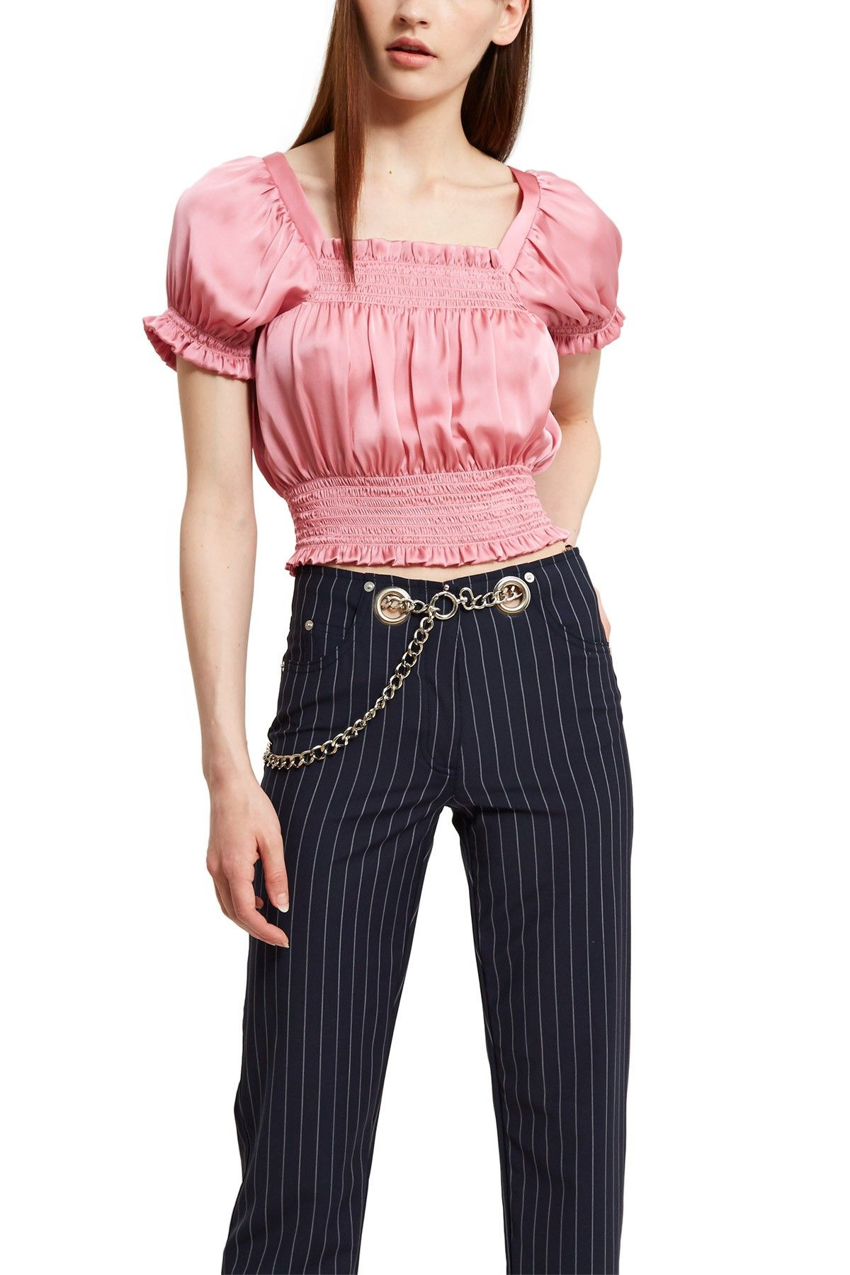 d78580cfd74c16 CALLIPYGIAN, Smocked Taffeta Crop Top Callipygian's square-neck cropped  blouse is made from a lightweight, silky blend of polyester.