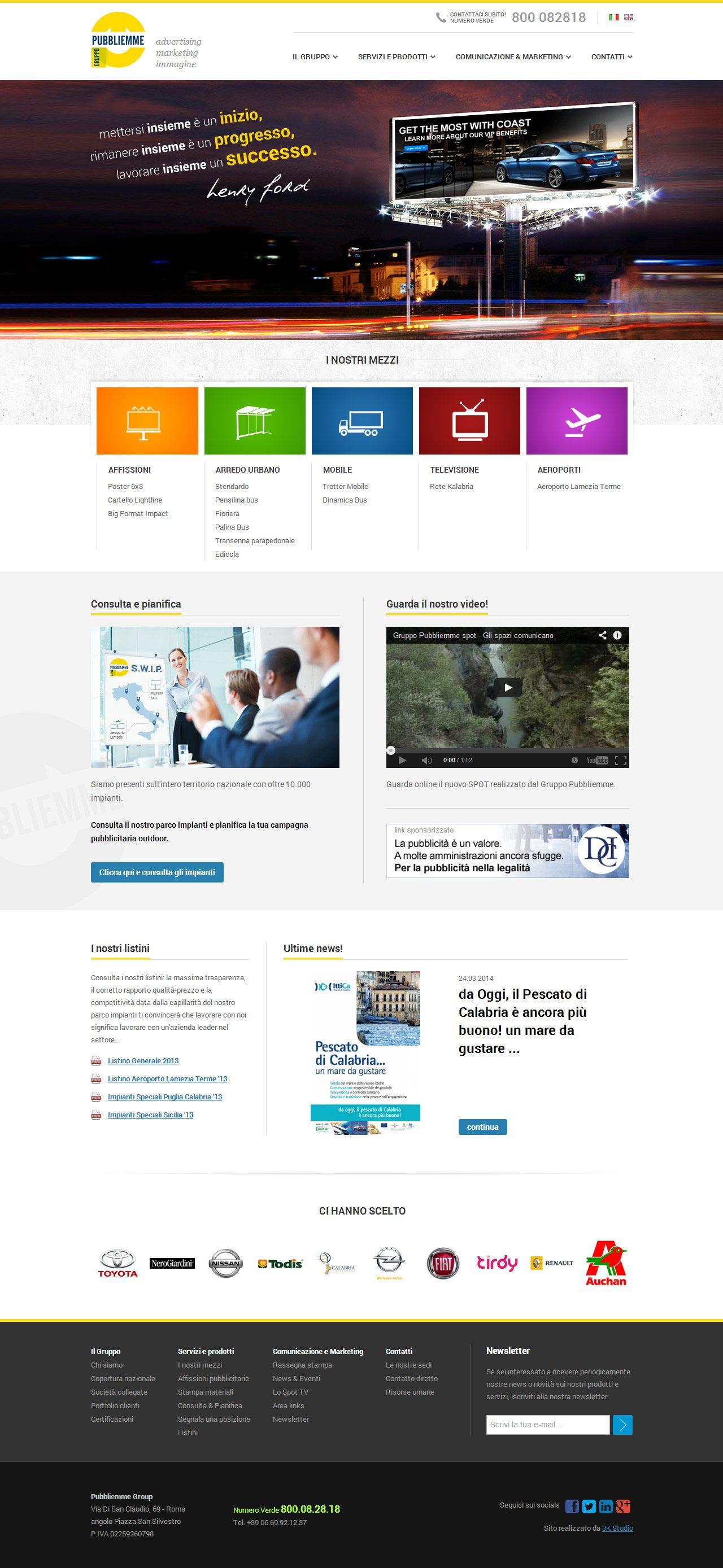 Gruppo Pubbliemme - Concessionaria Nazionale Spazi Pubblicitari Outdoor, cartellonistica e affissioni pubblicitarie. #webdesign #portfolio