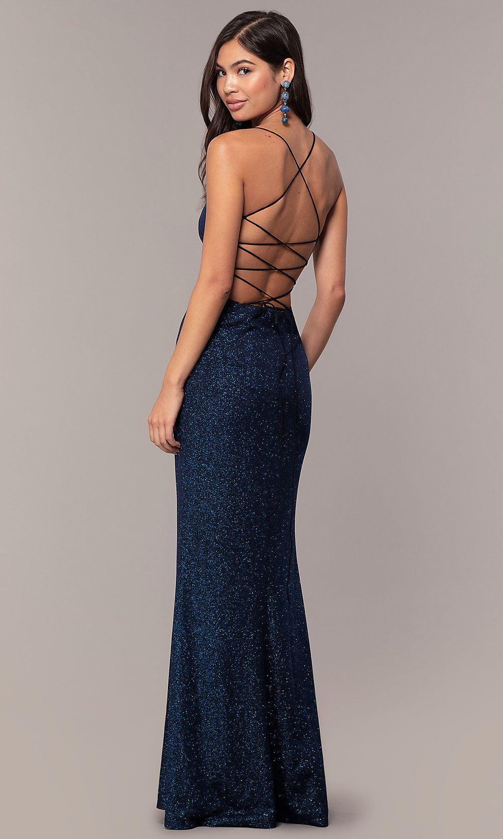 Sparkly V-Neck Open-Back Long Prom Dress by PromGirl ...