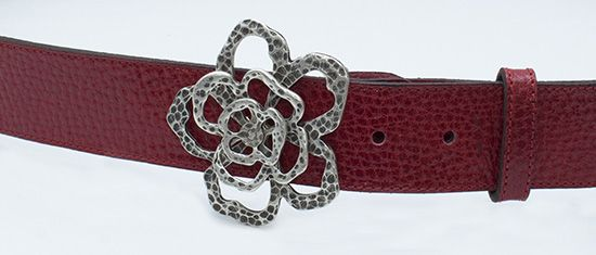 Flower. スペイン製牛革ベルト。Cinturón de piel. Cow leather belt made in Spain.
