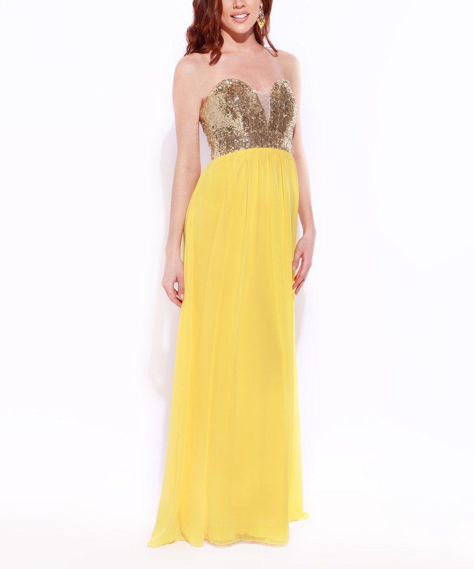 Yellow dress for women  Josh u Jazz Yellow u Gold Sequin Strapless Dress  Women by Josh