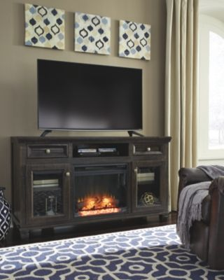 Townser Tv Stand With Fireplace Grayish Brown Large Tv Stands