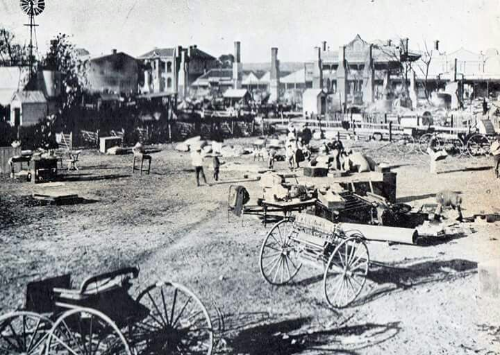Otho St,Inverell,New South Wales the aftermath of the 1902 fire.