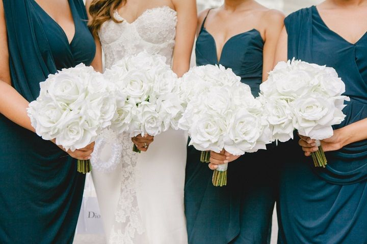 Navy blue mismatches bridesmaid dress and pure white wedding bouquets for a Breathtaking Fairytale Venice Wedding + Steven Khalil wedding dress | itakeyou.co.uk #wedding #weddingbouquets #bridesmaids #navyblue #whitebouquets #white #goldwedding #fairytalewedding