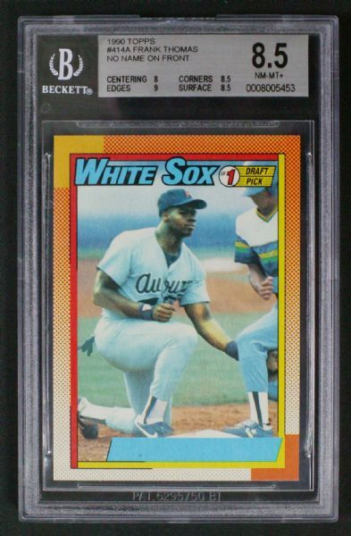 1990 Topps Frank Thomas Rookie Card Rc Error No Name