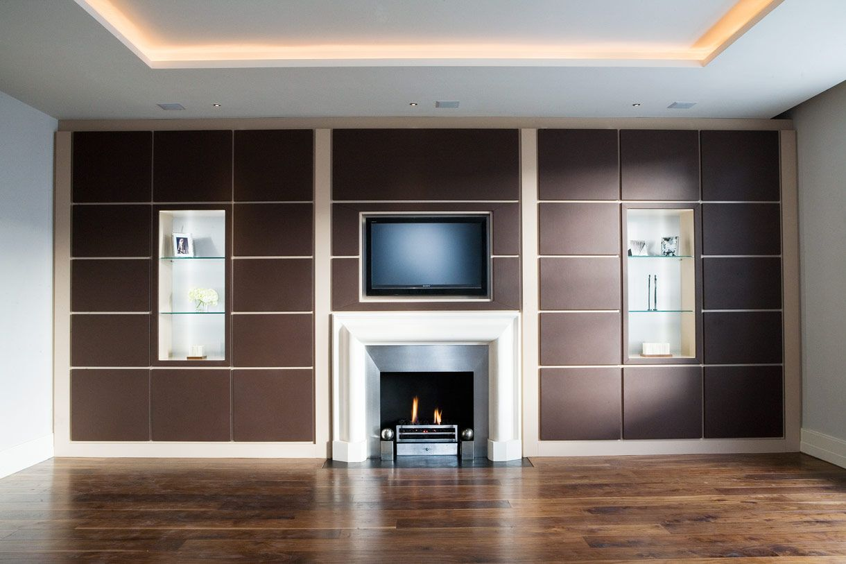 Media wall unit with leather doors and coloured sprayed internals ...