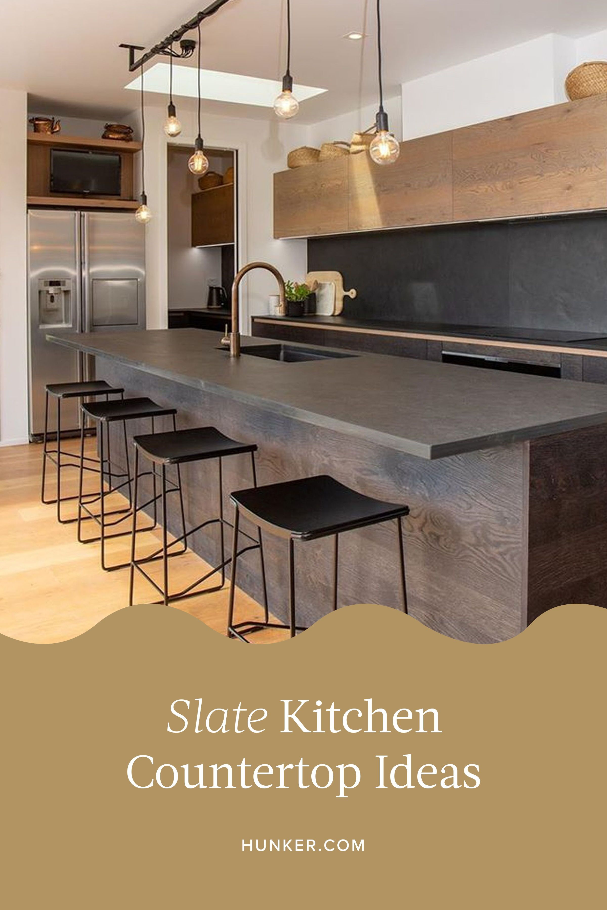 Slate Countertops Are Guaranteed To Bring Dramatic Edge To Your Kitchen In 2020 Slate Kitchen Slate Countertop Countertops
