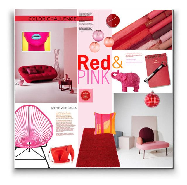 """Red & Pink Decor"" by watereverysunday ❤ liked on Polyvore featuring interior, interiors, interior design, home, home decor, interior decorating, Mario Luca Giusti, West Elm, Dot & Bo and Loewe"