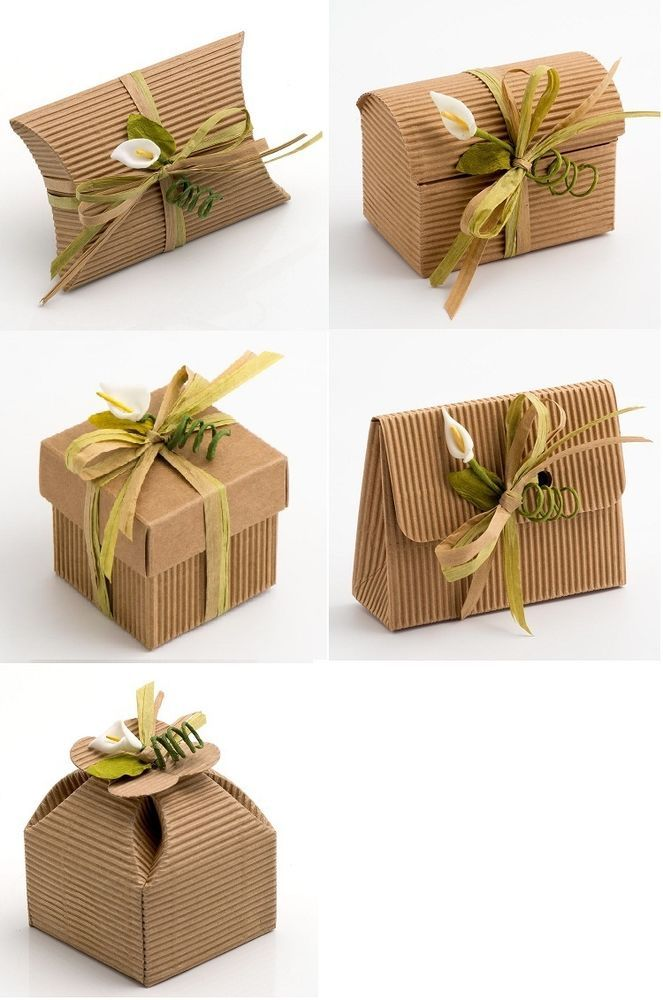 Paper Gift Box Ideas : Natural diy kraft corrugated wedding rustic favour gift