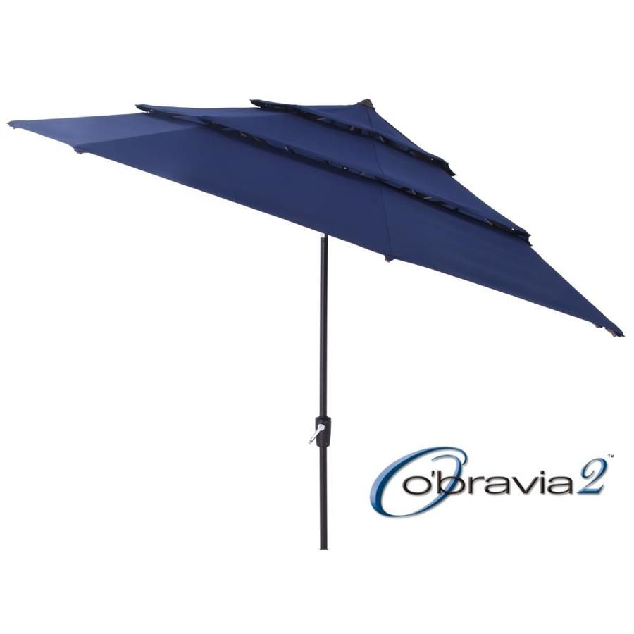 Simply Shade Navy Market 11 Ft Auto Tilt Octagon Patio Umbrella With Black Aluminum Frame Ua38338zt 9 In 2020 Patio Umbrella Umbrella Outdoor Umbrella